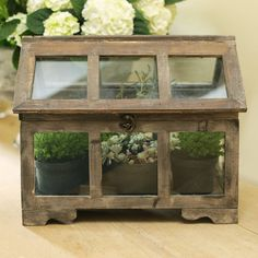 This classic wood and glass frame terrarium will allow you to create a mini indoor garden in your home . You can use a wide variety of plants , a selection of succulents in different shapes , with textured or … Continue reading → Best Indoor Plants, Indoor Garden, Garden Art, Green Garden, Garden Ideas, Diy Mini Greenhouse, Miniature Greenhouse, Victorian Terrariums, Plant Shed