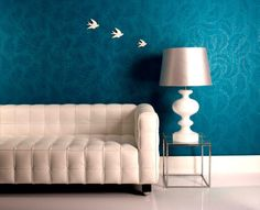 Nice blue floral walls. Graham & Brown's  Adorn collection. Hand-painted design.