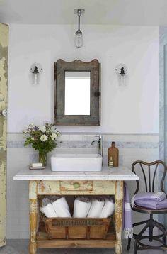 Rustic Bathroom. shabby bathroom sink.  reclaimed wood mirror