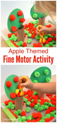 This apple themed fine motor activity combines early math, colors, and fine motor skills all in one activity for toddlers and preschoolers. By flipping the tree tops, it easily transitions to a more challenging activity for older preschoolers and kindergartners. Fall | Sorting | Early Childhood | Hand-Eye Coordination Preschool Apple Activities, Preschool Apple Theme, Motor Skills Activities, Fall Preschool, Autumn Activities, Toddler Activities, Preschool Apples, Sensory Activities, Fine Motor Activity