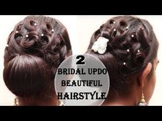 Bridal hairstyle for long hair, updo tutorial with braided flowers - YouTube