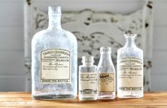 DIY antique apothecary bottle labels, by Knick of Time, featured on Funky Junk…