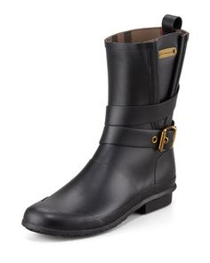 Burberry Motorcycle Rain Boot \\ These would make a rainy day better.