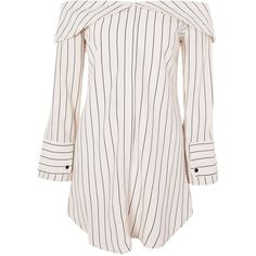 Topshop Petite Stripe Bardot Shirt Dress (42 BRL) ❤ liked on Polyvore featuring dresses, tops, vestidos, topshop, ivory, striped dresses, petite shirt dress, petite dresses, petite long sleeve dress and stripe dress