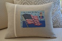 A patriotic Americana Pillow for the fourth of July or all year round! Custom Pillows, Vintage Postcards, Fourth Of July, Throw Pillows, Handmade, Cushions, Decorative Pillows, Decor Pillows, Hand Made