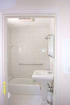 All white + grey grout