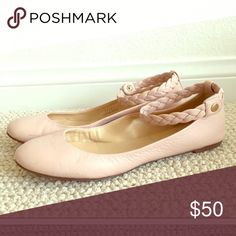 J. Crew Ballerina Shoes Pale pink with braided ankle strap.  Flat.  Leather.  EUC J. Crew Shoes Flats & Loafers
