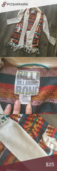 "Billabong cardigan Super warm and cozy cardigan. Perfect for fall. Has a ""Free People"" look to it. EUC. Very soft. Extremely faint stain on the lapel at the very bottom. Not noticeable when worn. Fun Aztec sort of design. Fun colors! With some stain remover and a few washed, I'm sure it will look brand new. Billabong Sweaters Cardigans"