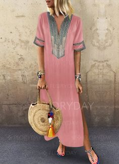 Women Striped Long Sleeve Vintage Loose Patchwork Swing Maxi Dress V neck Shift Women Daily Statement Half Sleeve Slit Solid Summer Dress Sexy Dresses, Plus Size Dresses, Vintage Dresses, Casual Dresses, Summer Dresses, Long Dresses, Vestidos Vintage, Summer Outfits, Beach Dresses