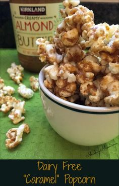 """Dairy Free """"Caramel"""" Popcorn -- Awesome nondairy, gluten free, four ingredient simple easy recipe!"""