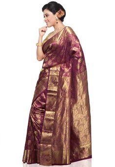 Purple Pure Brocade Silk Saree with Blouse: STC240