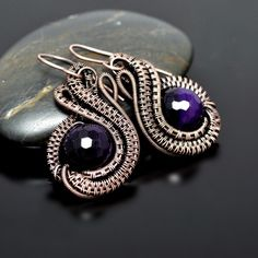 Nicole Hanna Jewelry creates one of a kind, artisan wire wrap jewerly in copper and silver metals and seed bead embroidery, featuring artisan gemstone cabochons and handmade art glass beads. Learn to wire wrap with Nicole Hanna Jewelry tutorials. Wire Jewelry Earrings, Wire Wrapped Earrings, Copper Earrings, Gemstone Earrings, Jewellery, Necklaces, Wire Wrapping Crystals, Purple Agate, Beads And Wire