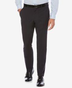 Perry Ellis Portfolio Men's Slim-Fit Stretch Check Performance Pants - Blue 36x34