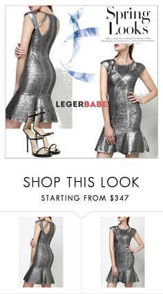 """Legerbabe Ariana Foil Crochet Jacquard Dress"" by legerbabedress ❤ liked on Polyvore featuring Giuseppe Zanotti, H&M and modern"