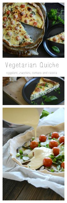 vegetarian quiche recipe (eggplant, zucchini, tomato and ricotta) easy, simple, delicious  Vegetarische Quiche Rezept (Aubergine, Zucchini, Tomate und Ricotta) einfach und lecker