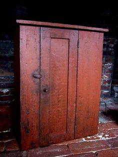 old primitive cupboard Primitive Cabinets, Old Cabinets, Primitive Furniture, Primitive Antiques, Antique Furniture, Painted Furniture, Primitive Decor, Primitive Country, Primitive Bedroom