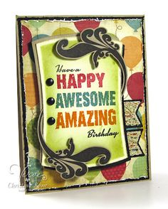 Used this card for zack, Ryan chad, dad craig, mason 2015. Sentiment : wishing you a yr full of hearty laughs, smiling faces & warm hugs. Happy Birthday