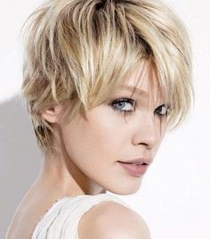 Blonde shag/pixie with long bangs