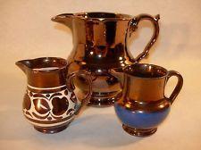 ANTIQUE ENGLISH POTTERY LUSTREWARE CREAM PITCHERS COPPER LUSTRE WADE English Pottery, Tea Set, Luster, Stoneware, Porcelain, Copper, Miniatures, Ceramics, Cream