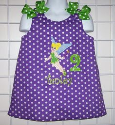 Purple Polka Dot Tinkerbell Applique Monogrammed by thesewprincess, $34.99