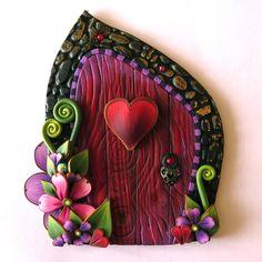 Valentine Fairy Door, Heart Pixie Portal, Holiday Decor by Claybykim on Etsy