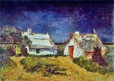Vincent van Gogh「Two Cottages at  Maries de la Mer」(1889)