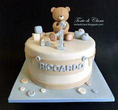 Teddy Bear cake - Cake by Clara Teddy Bear Birthday Cake, Mickey Birthday Cakes, Baby First Birthday Cake, Teddy Bear Cakes, Blue Birthday, Torta Baby Shower, Shower Baby, Cake Designs For Boy, Baby Girl Cakes