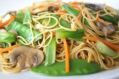 The Garden Grazer: Asian Spaghetti with Mushrooms, Snow Peas, Garlic