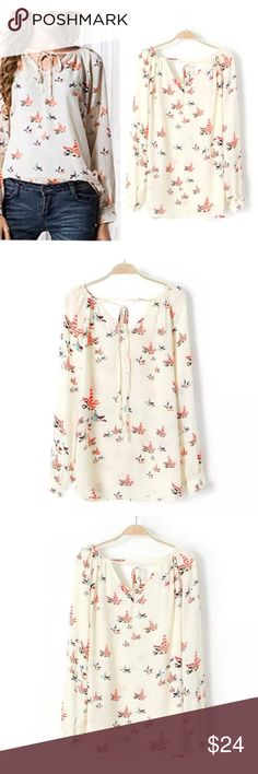 Silky Printed Cutout Neck Blouse Longsleeve TOP BRAND NEW!! Silky Longsleeve Blouse with whimsical bird print and cutout neck detail. Flowy, Flattering fit!! austin gal Tops Blouses