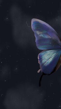 Black/blue/butterfly