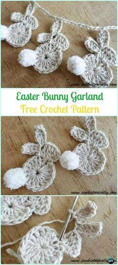 Crochet Easter Bunny Garland Free Pattern-Crochet Bunny Applique Free Patterns Shared by Career Path Design. Crochet Bunny Applique Free Patterns: Easy and Quick Easter Bunny / Rabbit Applique and Motifs crochet pattern most free for Easter crochet decora Easter Crochet Patterns, Crochet Motifs, Crochet Crafts, Crochet Projects, Sewing Patterns, Crochet Bunny Pattern, Knitting Projects, Knitting Patterns, Sewing Projects