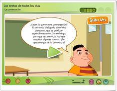 LA CONVERSACIÓN (Aplicación interactiva de Lengua Española de Primaria) Family Guy, Texts, Spanish Language, Teaching Resources, Languages, Learning, Reading, Griffins