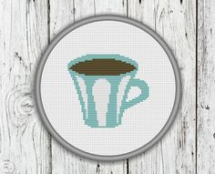 Cup Of Coffee Counted Cross Stitch Pattern - PDF, Instant Pattern