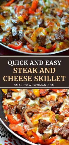 Life doesn't get much better than this easy dinner recipe! The whole family will enjoy this Steak and Cheese Skillet. Crisp stir-fried beef steak, onions, and peppers are combined in a super simple brandy sauce then layered with melted cheese for a tantalizing low-carb meal! Low Carb Recipes, Cooking Recipes, Healthy Recipes, Amish Recipes, Dutch Recipes, Skillet Recipes, Skillet Meals, Easy Family Dinners, Easy Meals