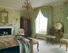 Cornice boards and the high pullback on the drapes