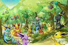 "CGC Huge Poster - Pokemon Eevees - Nintendo Game Boy Color Advance DS 3DS - POK002 (24"" X 36"")"