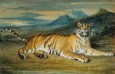 Le tigre du Bengale, aquarelle Antoine Louis Barye