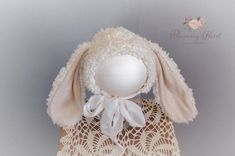 Furry Bunny Bonnet This bonnet is intended for use as a photography prop only. This is not for everyday use. All products are hand made in a smoke and pet free home. Instagram https://www.instagram.com/bloomingfloretphotoprop Facebook