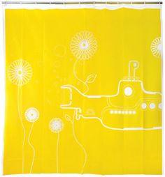 Yellow Submarine Vinyl Shower Curtain.