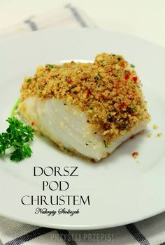 Dorsz pieczony pod kruszonką. Seafood Dishes, Fish And Seafood, Baked Salmon, Salmon Burgers, Food Porn, Food And Drink, Appetizers, Tasty, Favorite Recipes