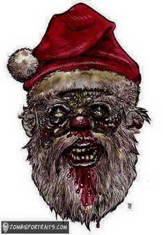 ... Bad Santa, Zombie Art, Grim Reaper, Skull Art, Horror, Lion Sculpture, Xmas, Google Search, Zombies