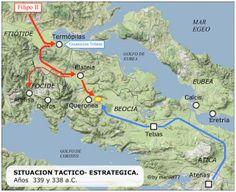 338 a.C - Batalla de Queronea entre las fuerzas de Filipo II de Macedonia y una alianza de polis griegas compuesta principalmente por Atenas y Tebas.