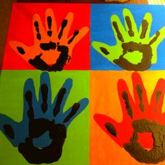 Fathers Day Warhol Painting- I traced my dads hand then painted it onto canvas. Then, put your handprint on top of his. Warhol Paintings, Diy And Crafts, Crafts For Kids, Handprint Art, Happy Fathers Day, Projects For Kids, Diy Gifts, Foot Prints, Ceramics Ideas