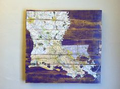 Louisiana Decoupaged Map, Purple and Gold Louisiana Art
