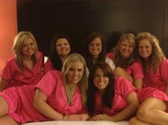 Pink pajama party with bridesmaids the night before my wedding.  Mail them their pink PJ's with an invitation several weeks before the wedding. Love this!
