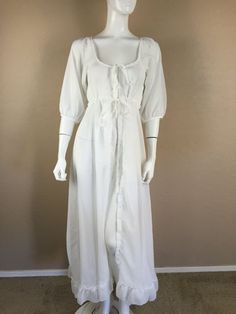 WHITE CHIFFON LINGERIE Robe Vintage peignoir peasant SMALL