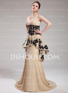 Vestidos princesa/ Formato A Decote V Cauda vassoura Chiffon Vestido de festa com Pregueado laço Beading Sequins (017019759)