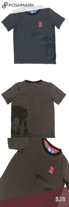 "Adidas Star Wars Graphic Striped T Shirt Adidas XS (7-8 yr) Chest: 28"" Waist: 28"" Length: 19"" from top back center neckline to bottom hem Lightly worn, great condition! Made in: Sri Lanka Material: 100% cotton adidas Shirts & Tops Tees - Short Sleeve"