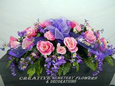 Dad/Mom Cemetery Flower Double Headstone/ Saddle With Mesh Ribbon & Gold Script Grave Flowers, Cemetery Flowers, Funeral Flowers, Funeral Flower Arrangements, Beautiful Flower Arrangements, Floral Arrangements, Cemetary Decorations, Flower Girl Pictures, Funeral Sprays