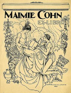 ex libris | bookplate of Maimie Cohn] | Artist: Smith, Ismael, 1886-1972 Date: 1920  Description: States, 'Maimie Cohn Ex-Libris;' depicts a seated woman holding an open book and a man kneeling at her feet surrounded by garland, a vase, a bust, and a column. Signed at bottom 'Senor Ismael Smith 1920.'  Format: 1 print, col., 16 x 12 cm.  Source: Pratt Institute Libraries, Special Collections 214 (sc00400)   Pratt Libraries Website For inquiries regarding permissions and use ...